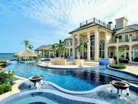 amazing beach house a little fancy for a beach house but ill take - Big Mansions With Pools On The Beach