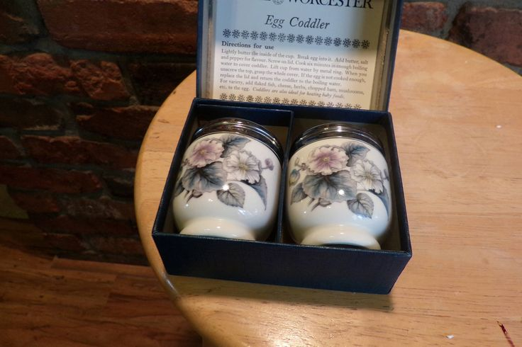 Royal Worcester Egg Coddlers in box, Vintage Boxed Pair of Royal Worcester Egg Coddler, Wedding gift, 1960 prop by Morethebuckles on Etsy