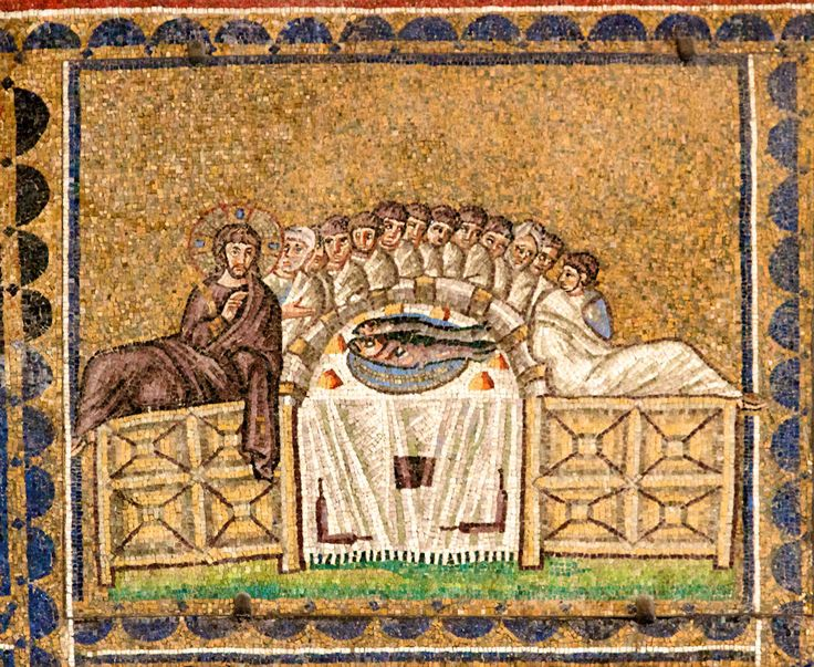 The Holy Meal mosaic, Church of Sant Apollinare Nuovo in Ravenna, photo by Nick Thompson.