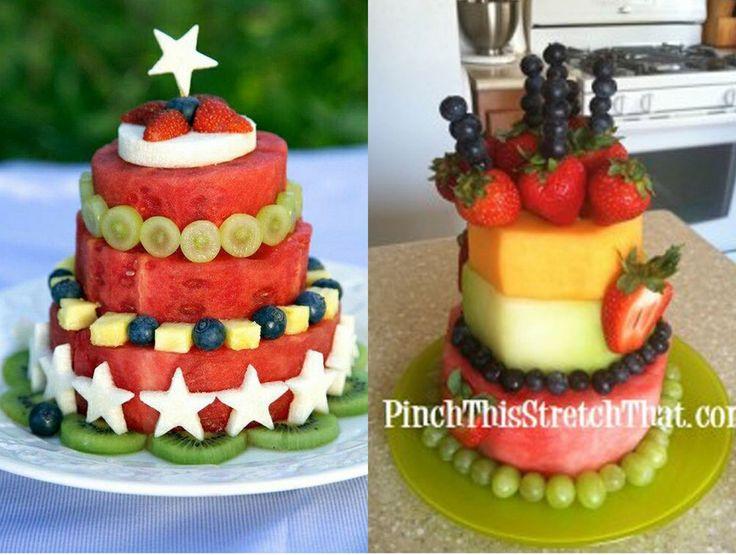 Torte di anguria e frutta mista