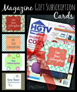 Magazine Gift Subscription Cards/Tags (FreePrintables)