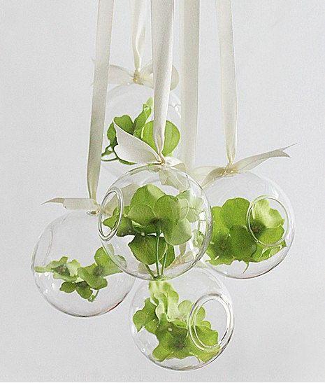 Ronde suspendue verre vase / bougeoir., fait main succulente Terrarium Kit