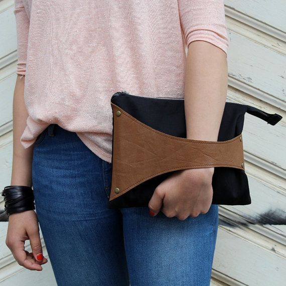 by SalmiakStudio via Etsy - Leather Detail Bag in Black Fabric & Mustard Brown Leather, iPad Size, handmade clutch bag/wristlet