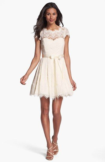 Xscape illusion yoke lace fit flare dress nordstrom for Nordstrom short wedding dresses