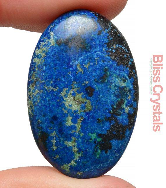 40 carati AZZURRITE, MALACHITE + rame Cabochon ovale 32 mm lucidata cristallo guarigione Stress Relief protezione #F12 di pietra