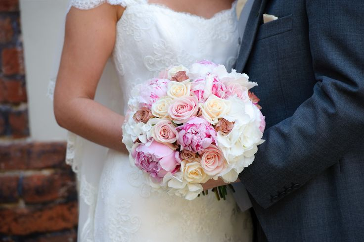 Peonies, roses and hydrangea arranged by Anne Goldschmidt; Suzanne Neville Lucia dress; groom attire by Moss Bros - my gorgeous Essex country manor wedding (champagne gold, ivory and dusky pink colour scheme)