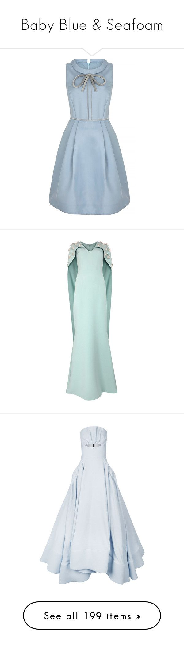 """Baby Blue & Seafoam"" by brassbracelets ❤ liked on Polyvore featuring dresses, vestidos, blue party dress, night out dresses, holiday party dresses, going out dresses, bow neck dress, gowns, long dress and long dresses"