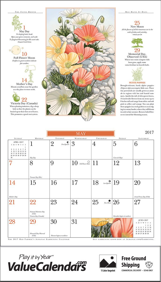 2017 Old Farmers Almanac Gardening Calendar 10 1 2 X 18 1 4 Custom Staple Bound Drop Ad