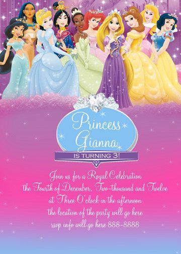 Disney Princess Invitation Digital File 4X6 or by digitalparties, $5.00