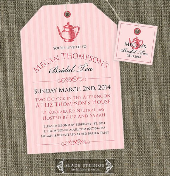 Bridal Tea invitations. High Tea traditional tea bag invitation printable.