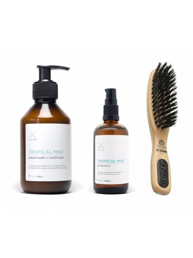 Pack de Aceite y Champú para Barba Tropical Mint de Castizo con cepillo Kent PF10. Una de las mejores combinaciones para cuidar tu barba.