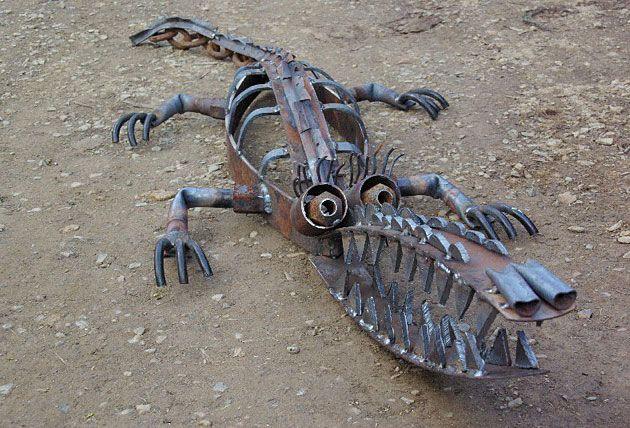 Recycled metal crocodile and garden art, Tread Sculptures, Kangaroo Ground, Victoria