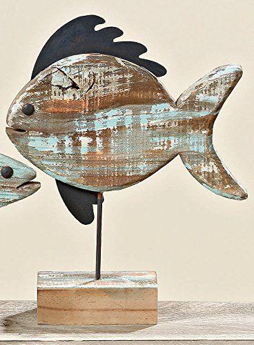 Deko Aufsteller Fisch aus Holz 30 x 37 cm: Amazon.de: Küche & Haushalt