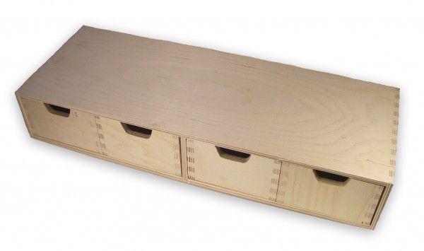 stabiles Schubladen-Regal, Wandregal, mit 4 Schubladen, Holz unbehandelt weitere…