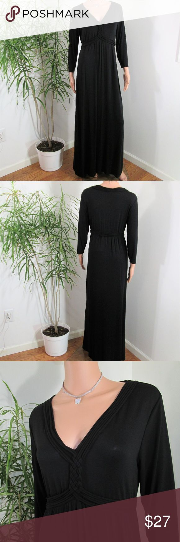 """Max Studio* Knotted Bodice Maxi Clean simple lines. Fitted bodice with faux woven straps/knot detail. Empire waist, Full flowing skirt. Stretchy.  Measured flat. 18"""" pit to pit. 58"""" long. on 5' 9'' model, 33'' x 24'' x 33.5''  Gothic Gypsy Renaissance Witchy  Vibes Max Studio Dresses Maxi"""