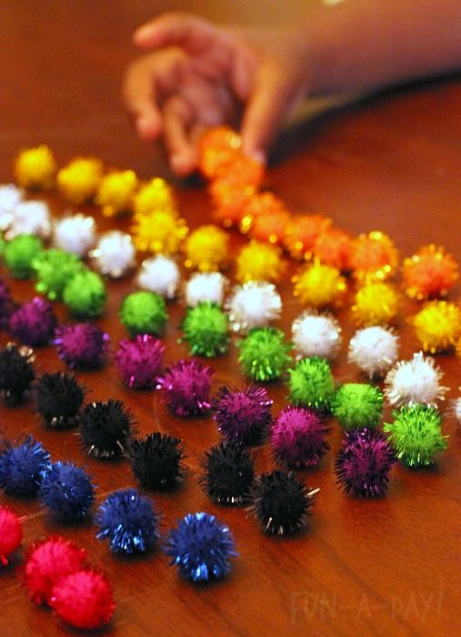 firework math activity - graphing pompoms
