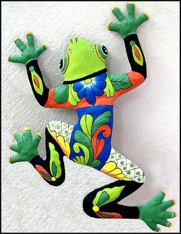 """Frog Wall Hanging - Hand Painted Metal Tropical Outdoor Decor - Haitian Steel Drum - 25"""" x 34"""""""