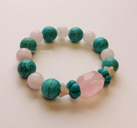 Rose Quartz and Howlite bangle Quartz jewellery streatchy