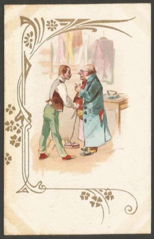 Art ? Noveau Litho Cromo Tailor & Man 1900 Postcard #1597 L@@K