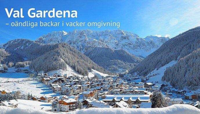 Val Gardena skidåkning vackert. Skiing Snow winter STS Alpresor puder skidresa Alperna