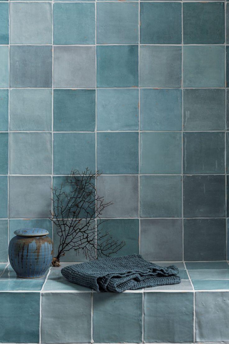 Zellige Nouveau Aqua Gloss Tiles Modern Bathroom Tile Bathroom Tile Designs Bathroom Trends