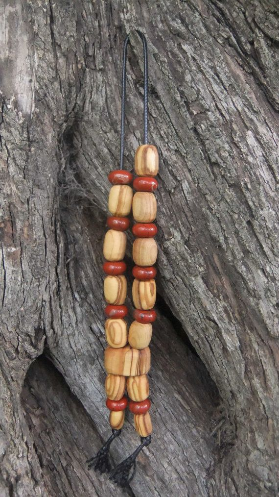 Olive Wood Worry Beads or Komboloi with Sienna by ellenisworkshop