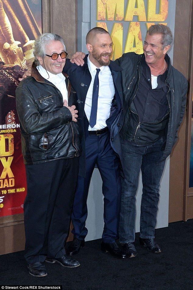 Old and new: Tom and Mel posed up with director George Miller, who was at the helm of the 1979 original
