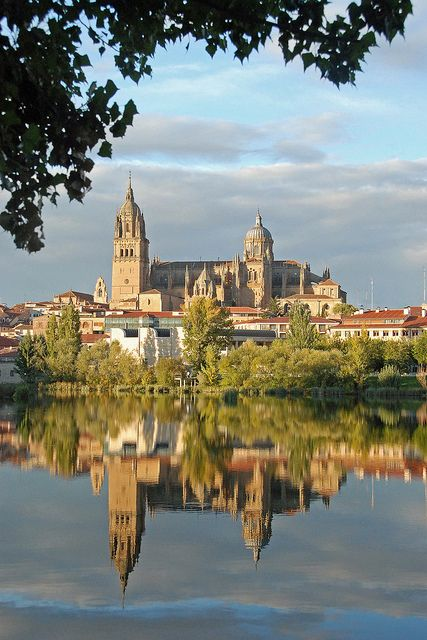 Old and new cathedrals over Tormes river, Salamanca - Spain