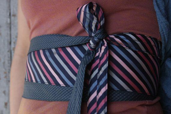 Roze & Stripes Obi Wrap riem gerecycleerd zijden door elsiemontreal