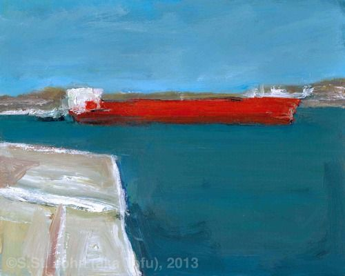 """Tanker, acrylic on paper, 8""""x10"""" The final painting for 2013 As 2013 comes to a close I was using up some of the paint on the palette for the last painting of the year. This one, perhaps quite appropriately, is of a ship heading out to sea. An image from the Port of Richmond across the Bay from San Francisco."""