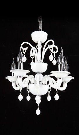 Venetian Glass Carnivale White Italian Contemporary  Chandelier 5 Lights From Chandelierium Bedroom?