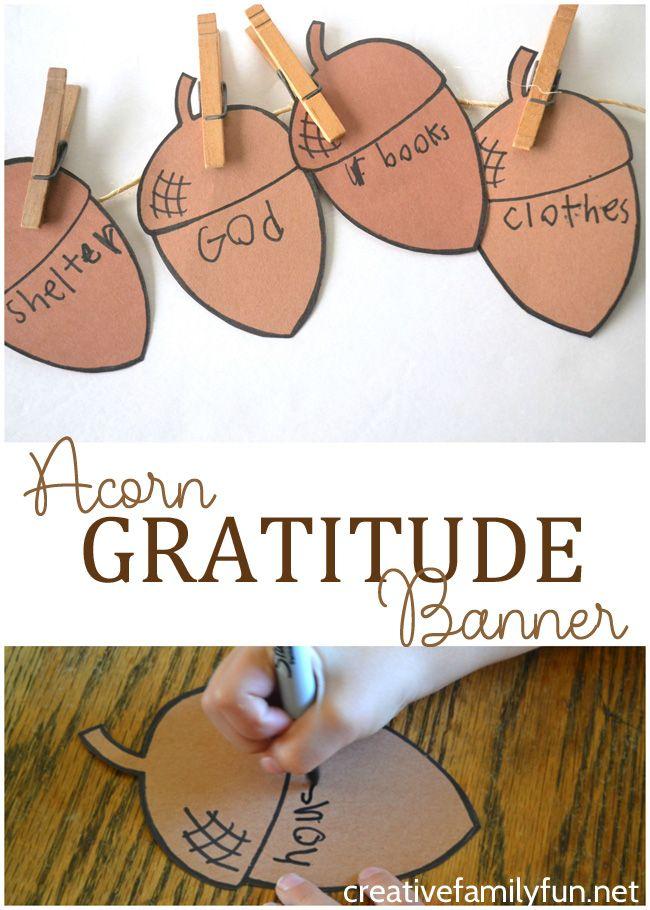 Acorn Gratitude Banner Craft For Kids Thankful Crafts Bible Crafts For Kids Gratitude Crafts