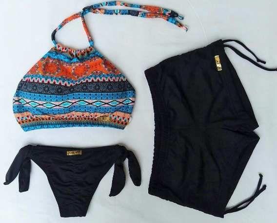 Kit Biquíni Cropped Estampado+calcinha Ripple+shorts Sunkini  1e49223b007