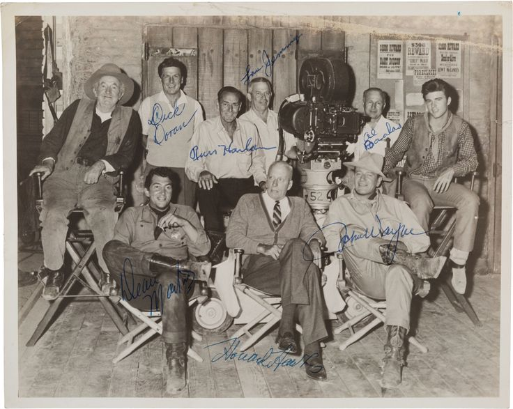 Walter Brennan, Dean Martin, Richard Doran, Russell Harlan, ?, Howard Hawks, John Wayne, Al Baalas and Ricky Nelson on the set of Rio Bravo, 1959