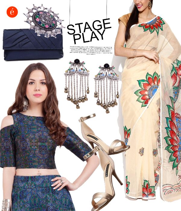 Contemporary Style- Crop Top & Kalamkari Saree