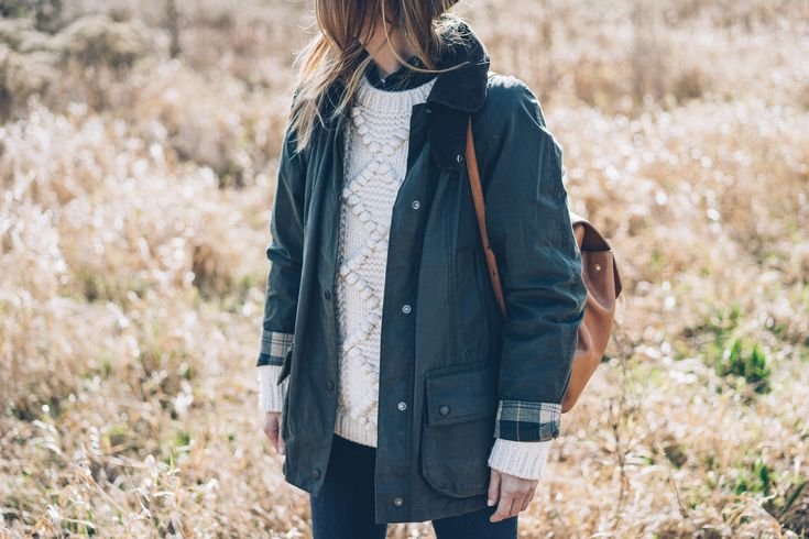 Jess Kirby wearing Barbour Jacket and LL Bean