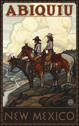 ~Vintage Travel Poster: Abiququi, NM~ think of Georgia O'Keefe. Wilderness area. No online maps available.
