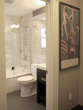 Small bathroom, apparently 5x7. Clean and light--and ...