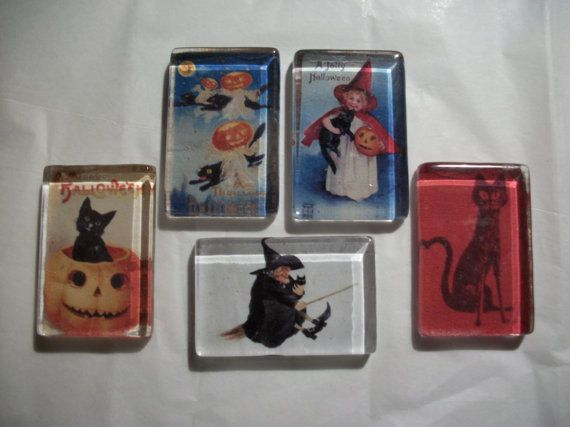 Hey, I found this really awesome Etsy listing at https://www.etsy.com/listing/251308404/5-vintage-halloween-rustic-glass-magnets