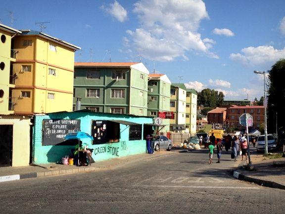Colourful building blocks in Alexandra Township, Johannesburg, Gauteng. http://www.gauteng.net/attractions/entry/alexandra_township_of_rhythm_route/