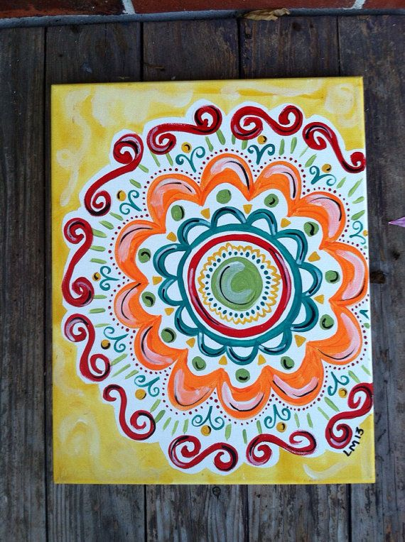 I love this! Abstract Multiple Flower Painted Canvas by PetalsAndBrushes, $17.00