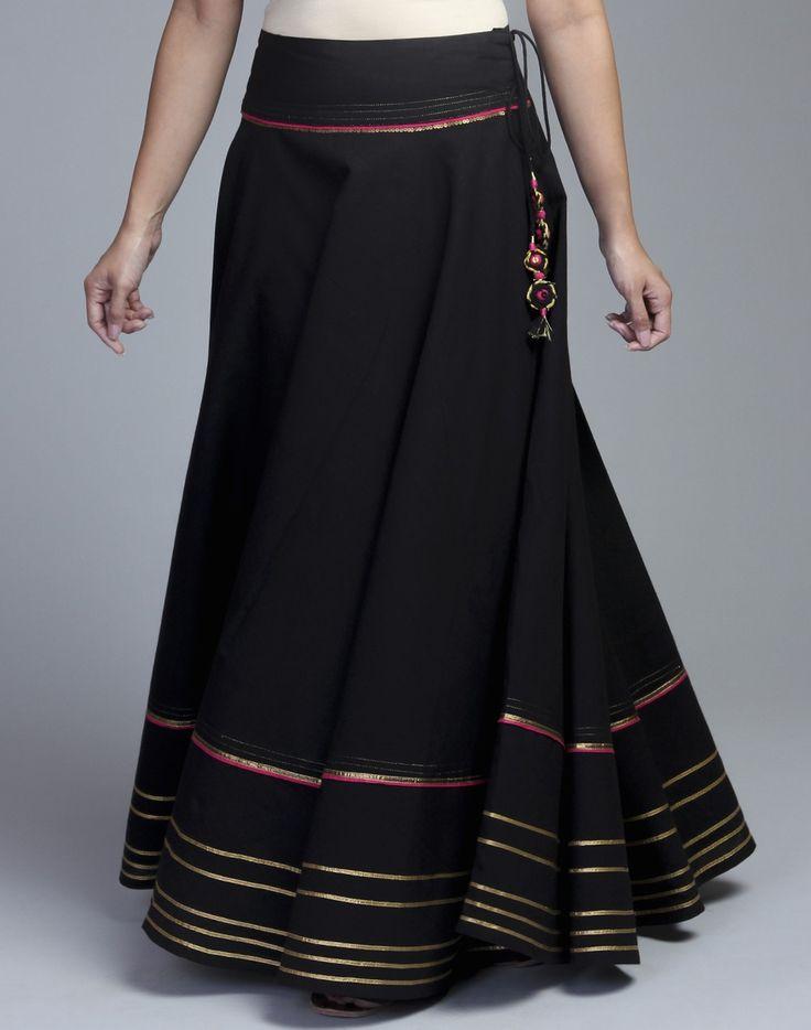 Buy Cotton Gota Trim Long Skirt Online in India at cooliyo ...