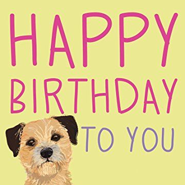 Border Terrier - Waggy Tails - Charity Birthday Card