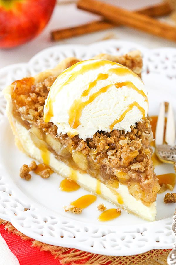 This Apple Crumb Cheesecake Pie is made with a layer of cheesecake, homemade apple pie filling and an oatmeal crumb topping! The flavors and all the textures are wonderful together and it's a terrific pie! Today I'm excited to share a brand new cookbook with you from my friend Jocelyn of the blog Inside BruCrew …
