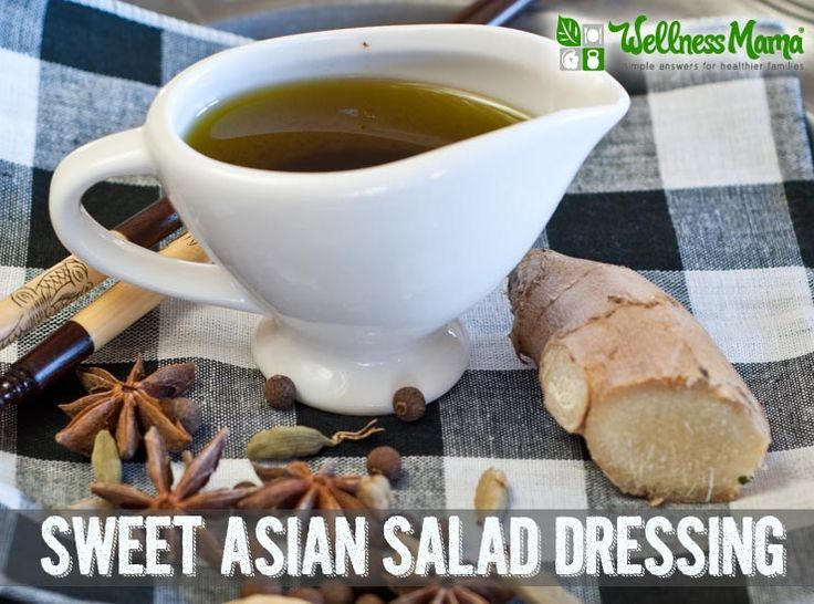 This sweet Asian Salad Dressing recipe combines hints of olive oil, coconut aminos, vinegar and honey with spices like ginger and garlic.