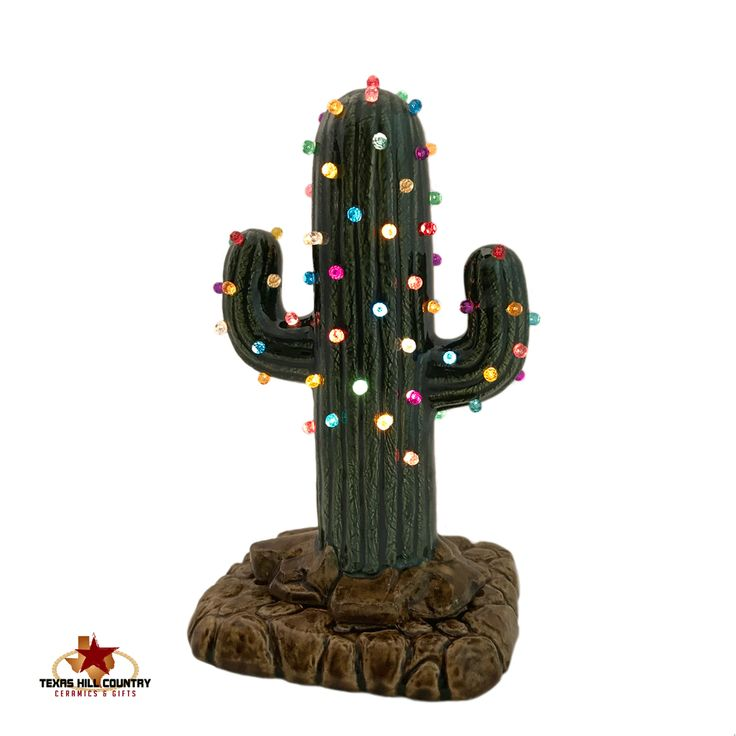 Small Saguaro Cactus Ceramic Christmas Tree 8 Inches Tall with Color Lights and Electric Base, Arizona Desert Southwestern Holiday Decor - Made to Order - Texas Hill Country Ceramics