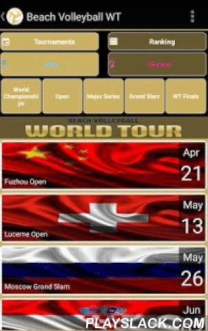 Beach Volleyball WT  Android App - playslack.com , App Beach Volleyball WT.Find out all the information related to beach volleyball : World Tour calendar (open, major series, grand Slam, world championships...) ,qualification, results, rankings...