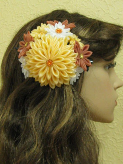 Kanzashi Hair Clip 4.8'' 12cm Hair Ornament Flower Gifts by AKazin