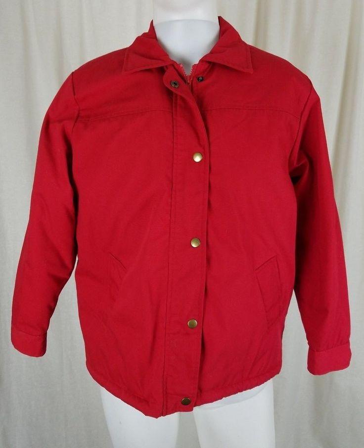 Vintage Deep Pile Sherpa Fleece Lined Windbreaker Jacket Mens L 70s Red Popcorn #Unbranded #Windbreaker