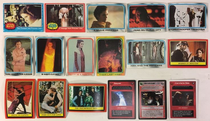 Princess Leia Carrie Fisher Lot of 17 Star Wars Trading Cards 1977 Topps to 1997 Decipher CCG